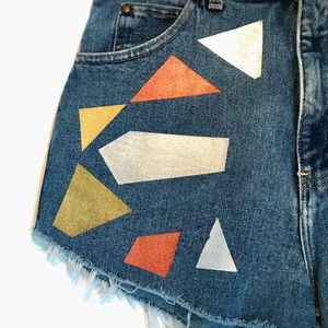 Hand Painted High-Waist Denim Shorts